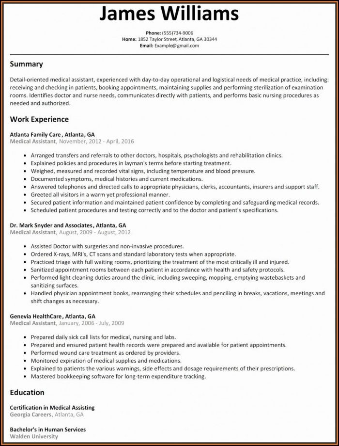 Medical Assistant Resume Template Free Download
