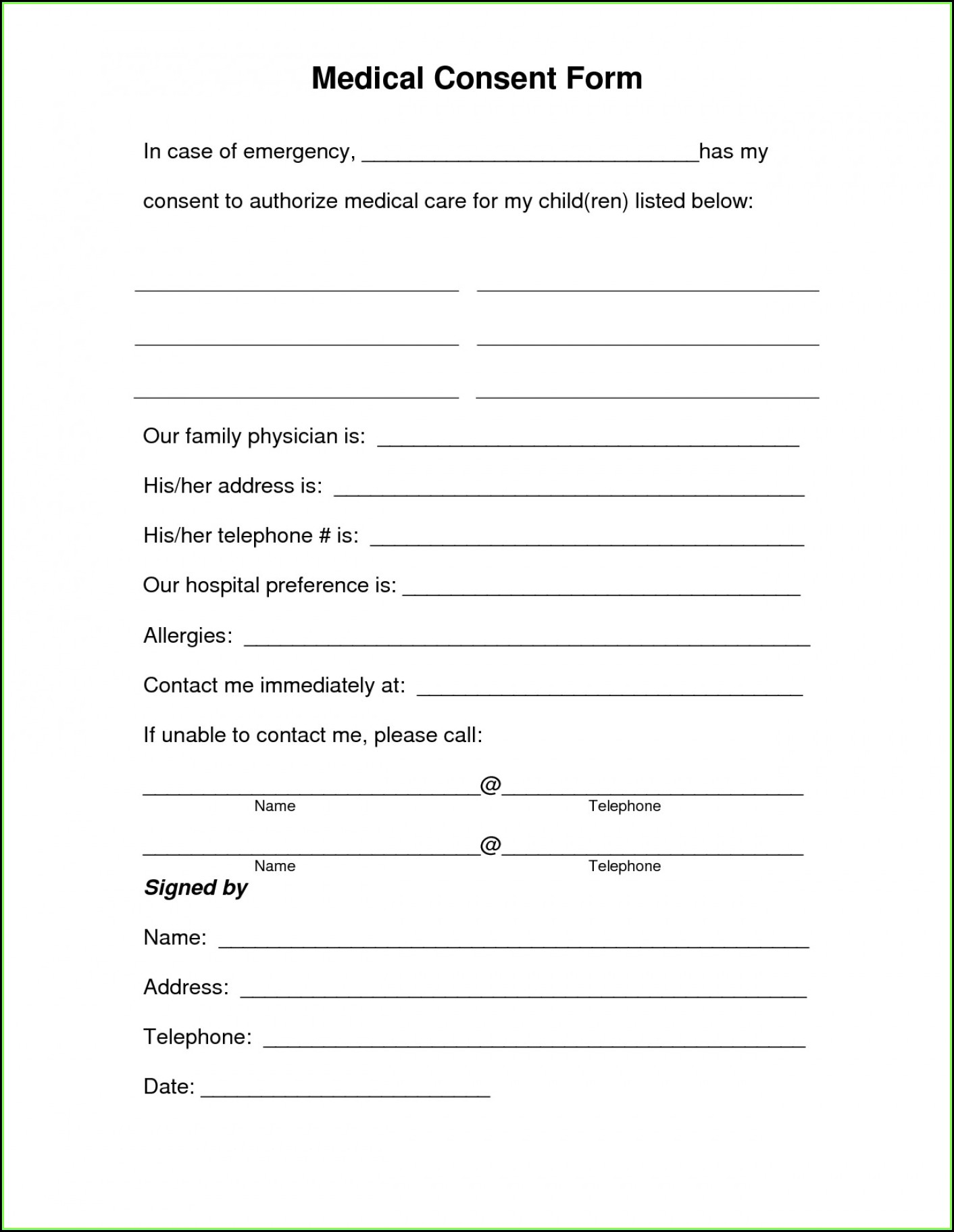 Medical Consent Form For Babysitter Template