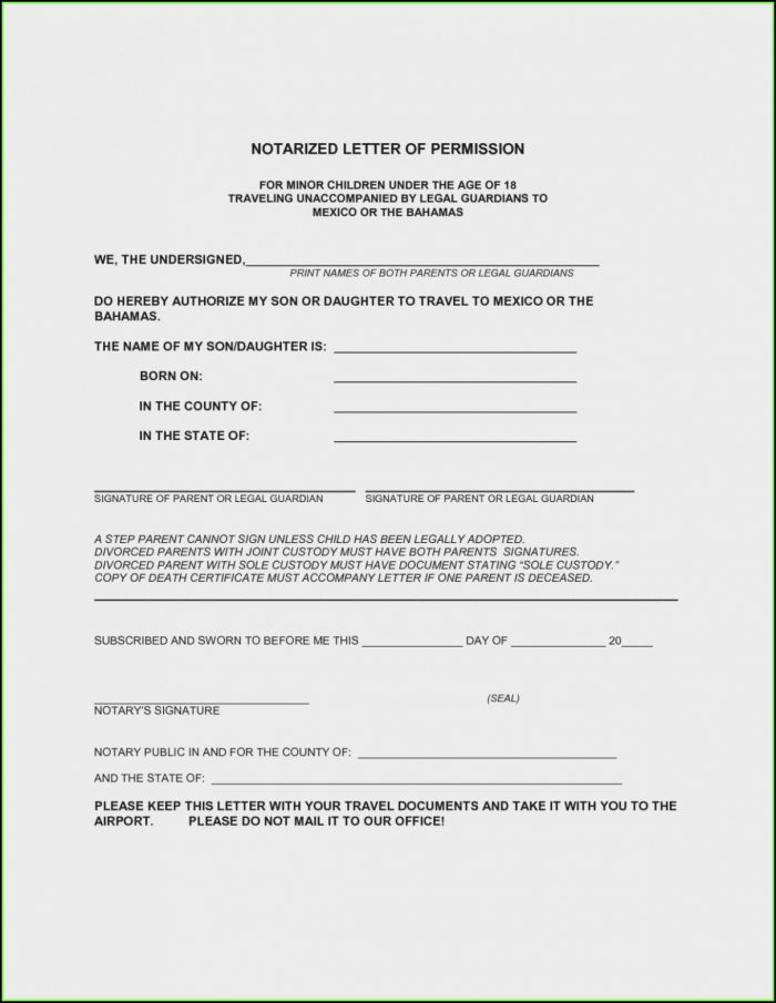 Medical Consent Form For Child Traveling Without Parents