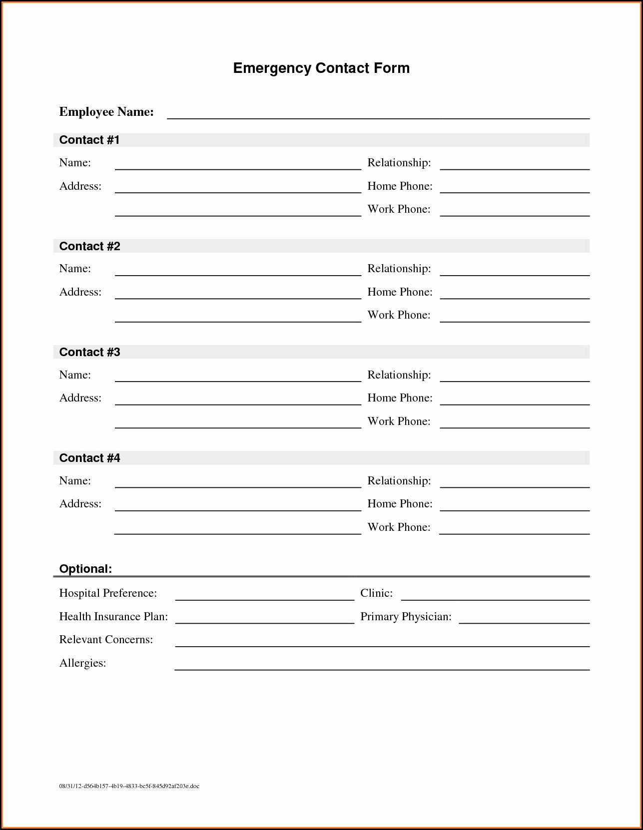 Medical Emergency Contact Form Template