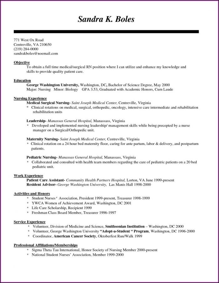 Medical Staff Nurse Resume Sample