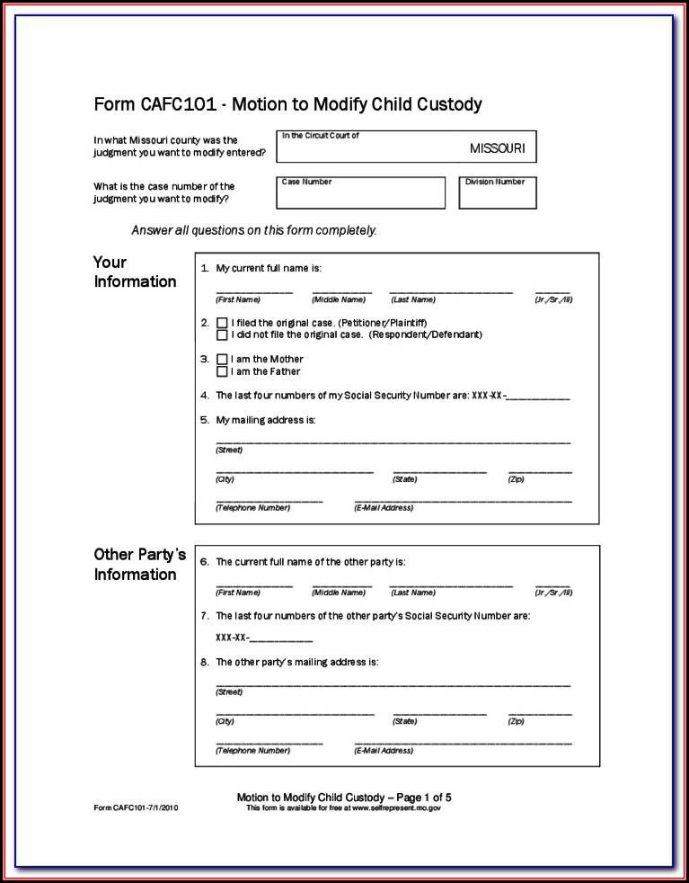 Missouri Child Guardianship Forms