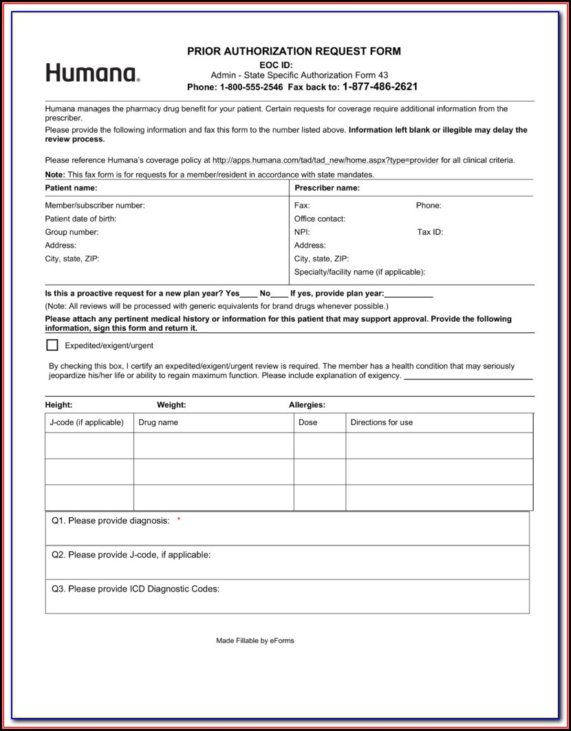 Molina Medicare Medication Prior Authorization Form