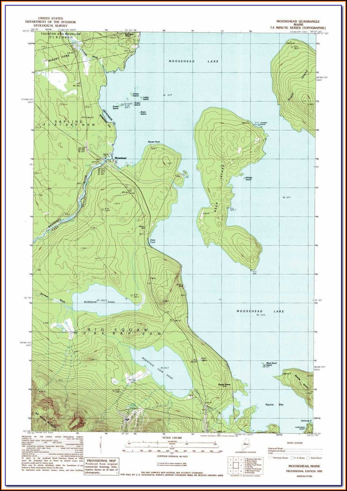 Moosehead Lake Maine Depth Map