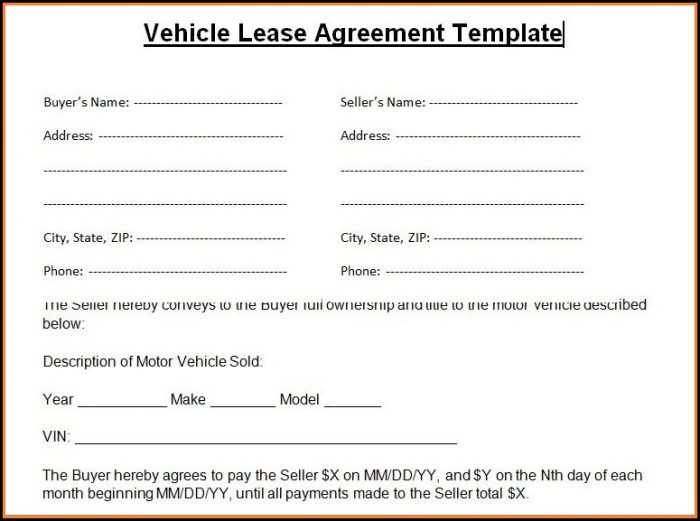 Motor Vehicle Lease Agreement Template