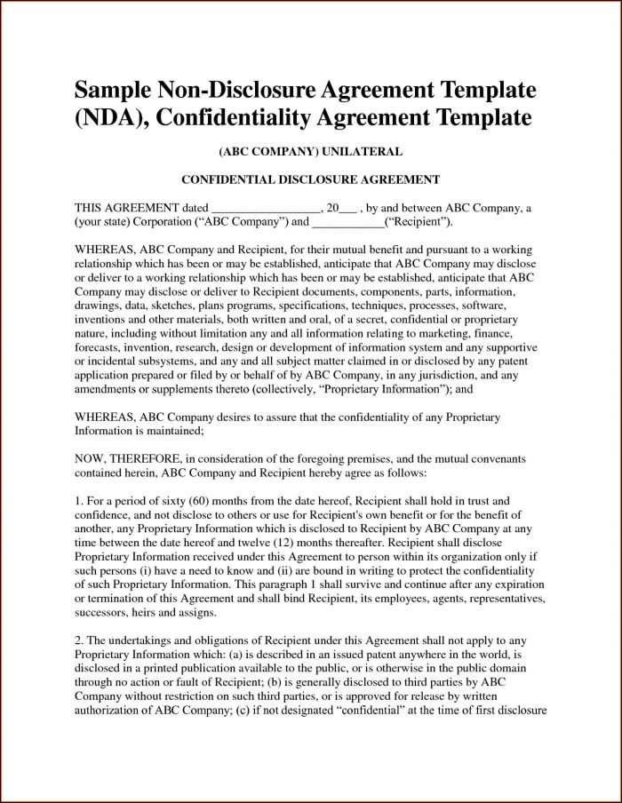 Mutual Confidentiality Agreement Template Free