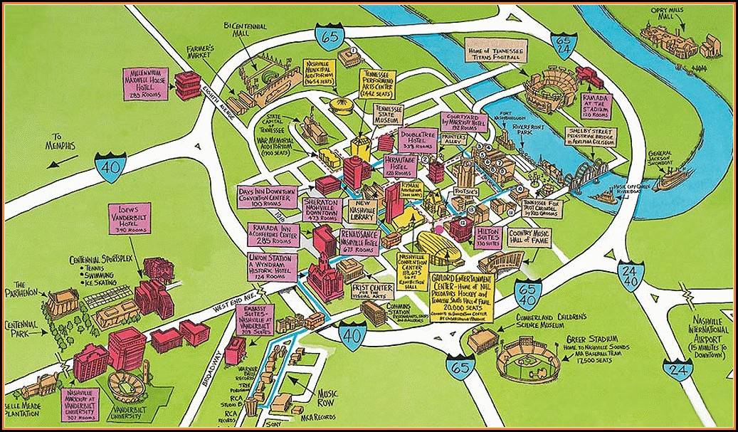Nashville Hotels Downtown Map