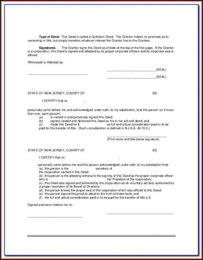 Nj Quit Claim Deed Form