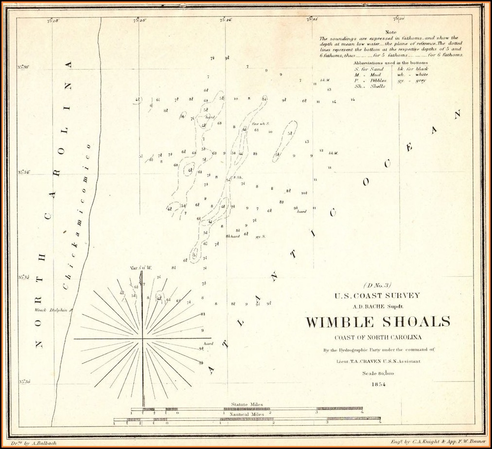 North Carolina Coast Shipwreck Map