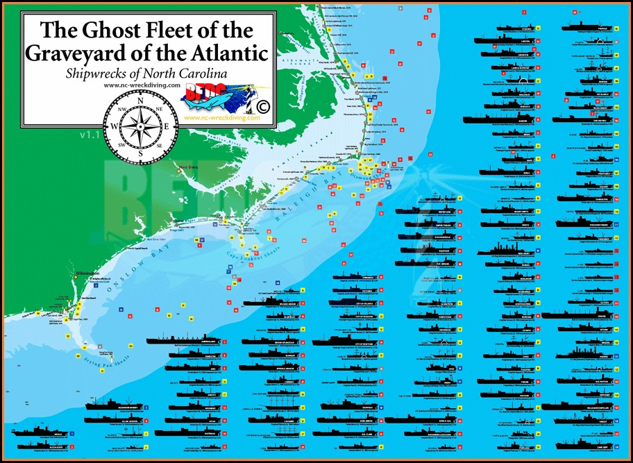 North Carolina Shipwreck Map