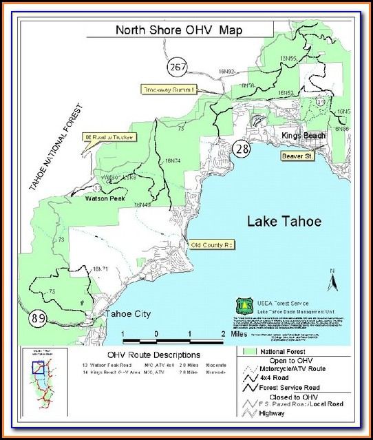North Lake Tahoe Hiking Map