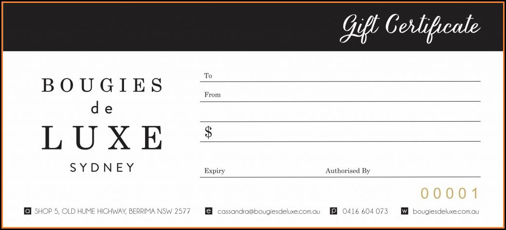 Numbered Gift Certificate Template