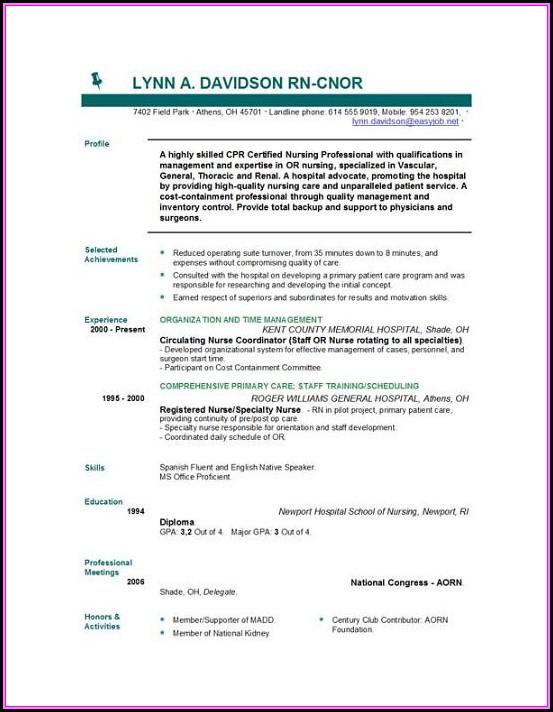 Nurse Resume Template Free Download