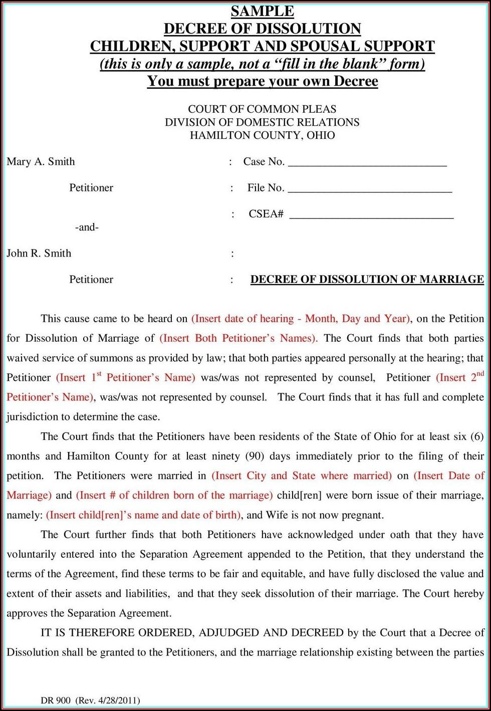 Ohio Dissolution Of Marriage Forms Hamilton County