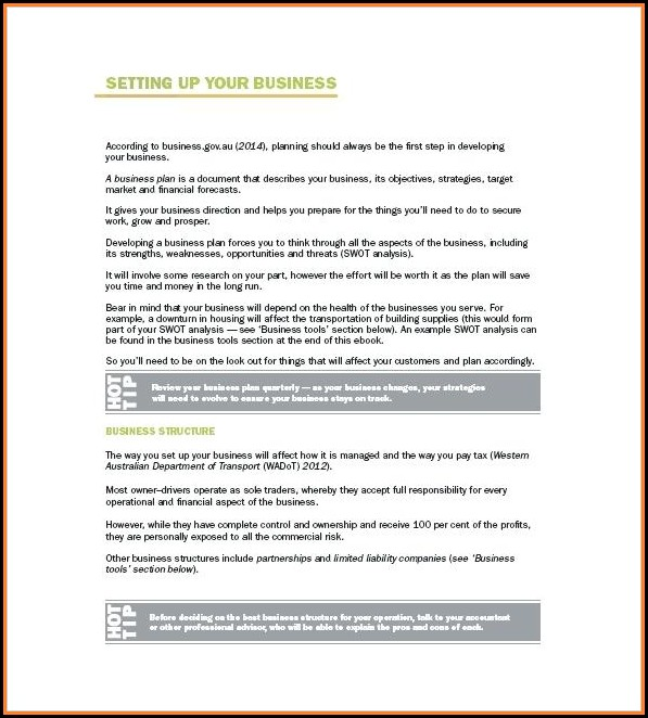 Owner Operator Trucking Business Plan Template