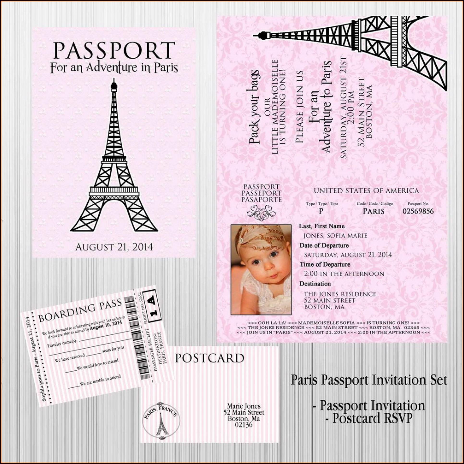 Passport Birthday Invitation Template Free