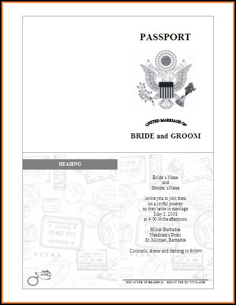Passport Invitation Template Editable