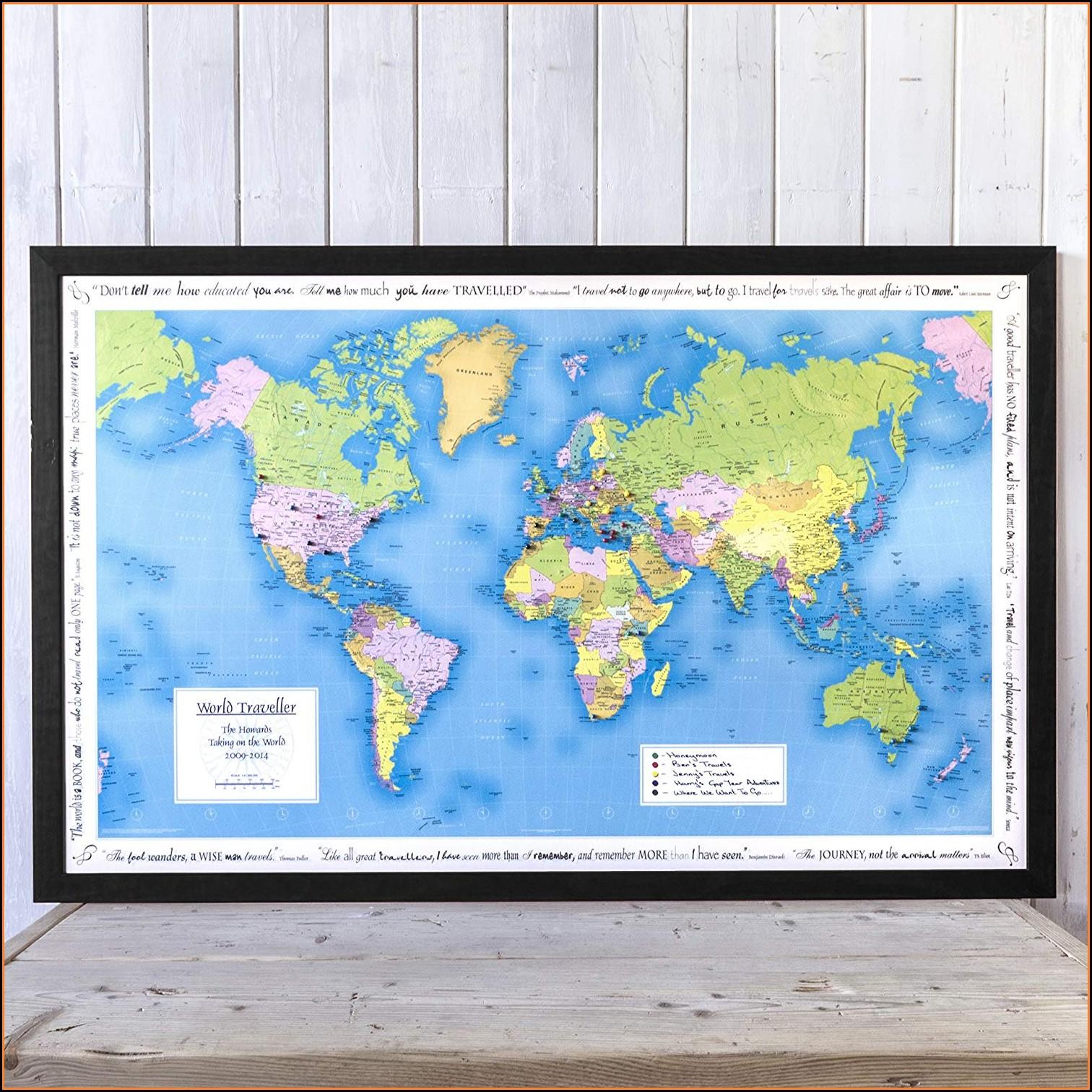 Personalised World Traveller Map Framed