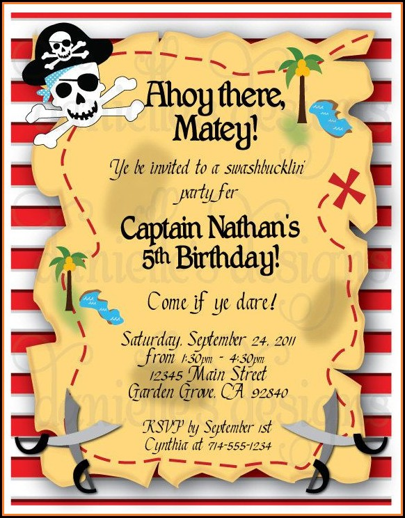 Pirate Map Themed Invitations