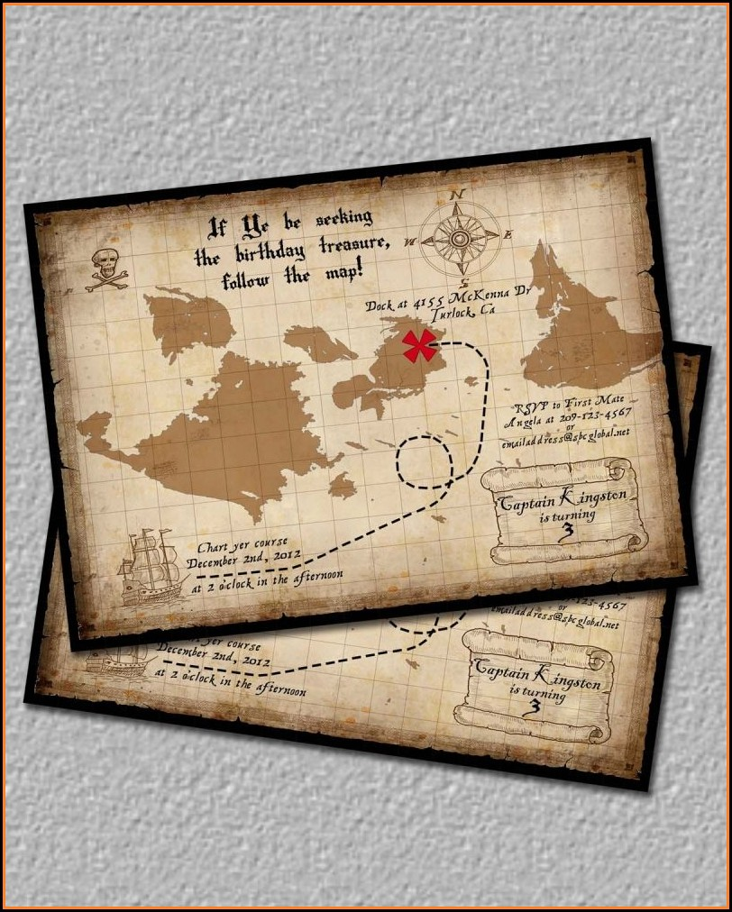 Pirate Map Wedding Invitations