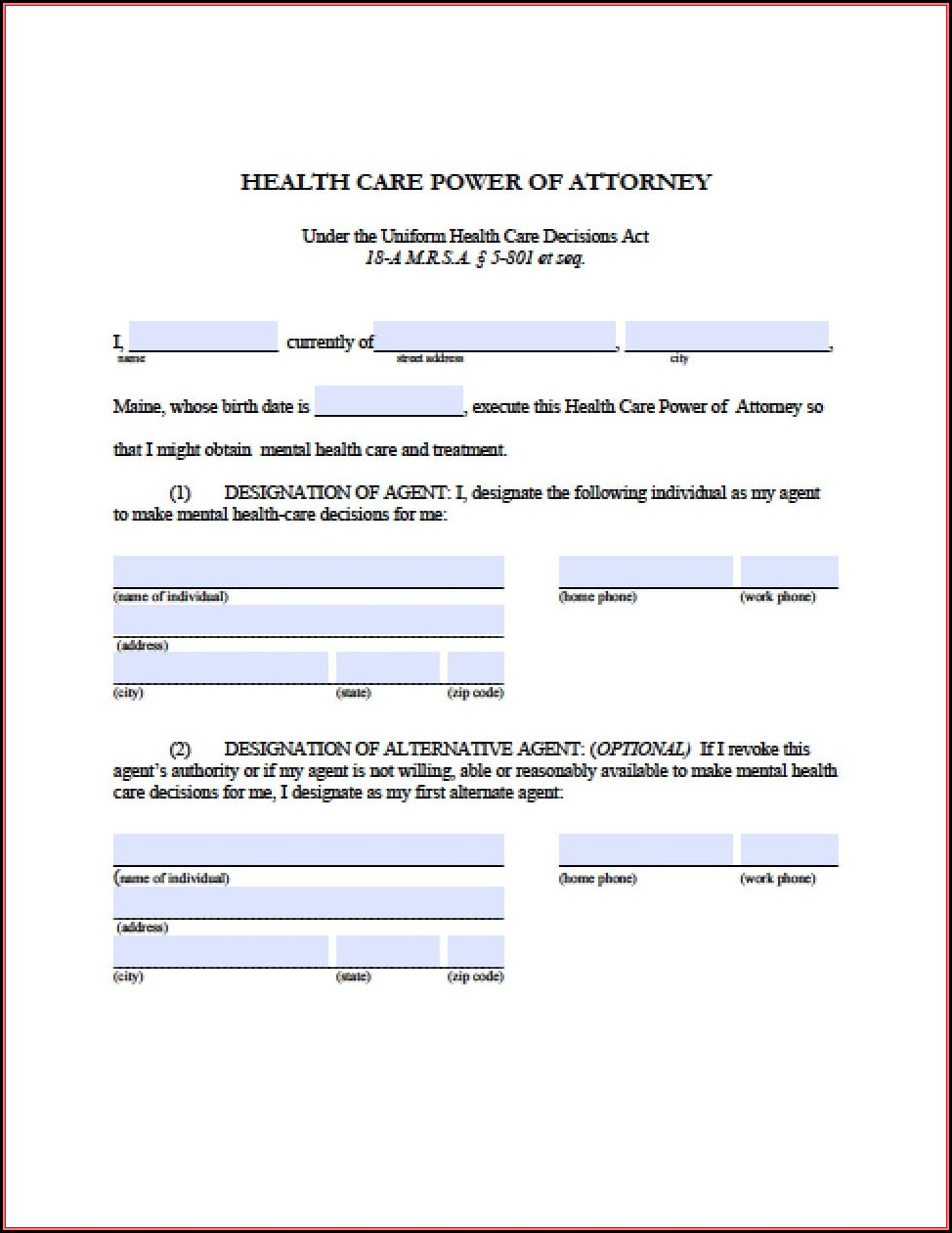 Power Of Attorney Form Maine