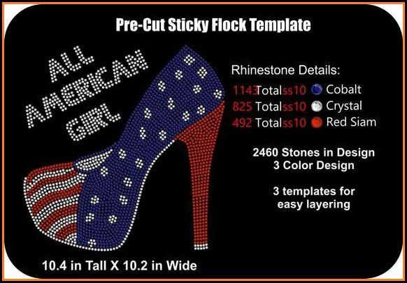 Pre Cut Sticky Flock Rhinestone Templates