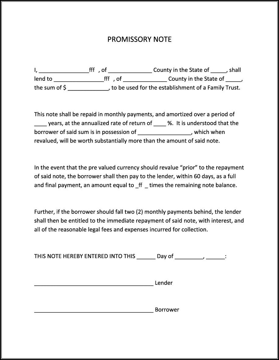 Printable Blank Promissory Note Form