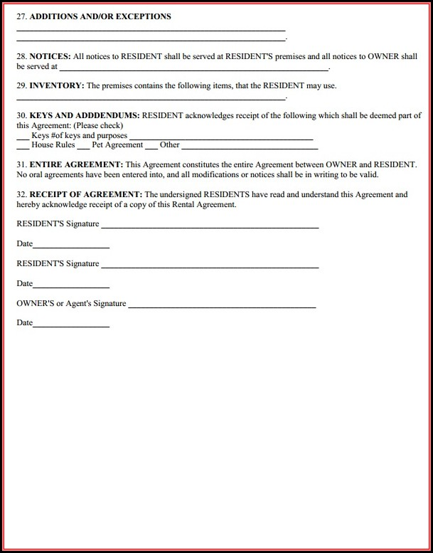 Printable Car Rental Agreement Form