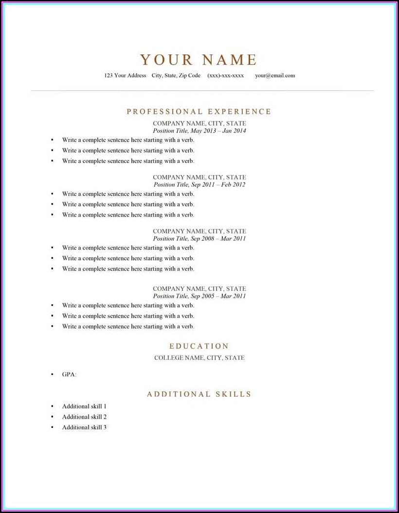 Printable Sample Resume Formats