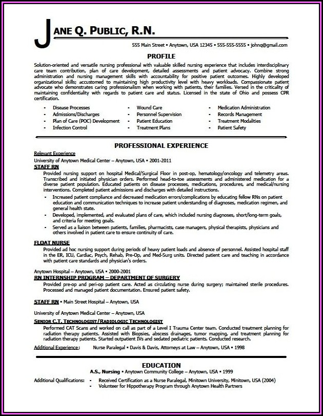 Professional Resumes For Nurses