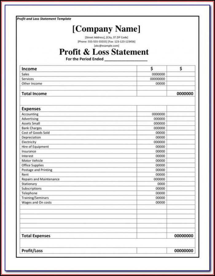 Profit And Loss Statement Form Pdf