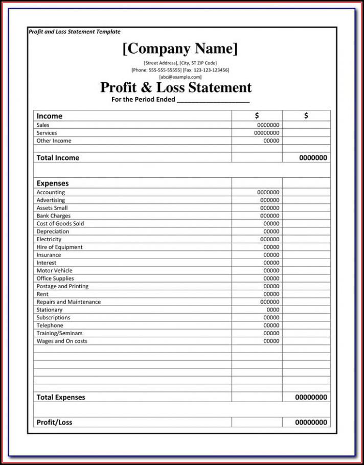 Profit And Loss Statement Form Pdf