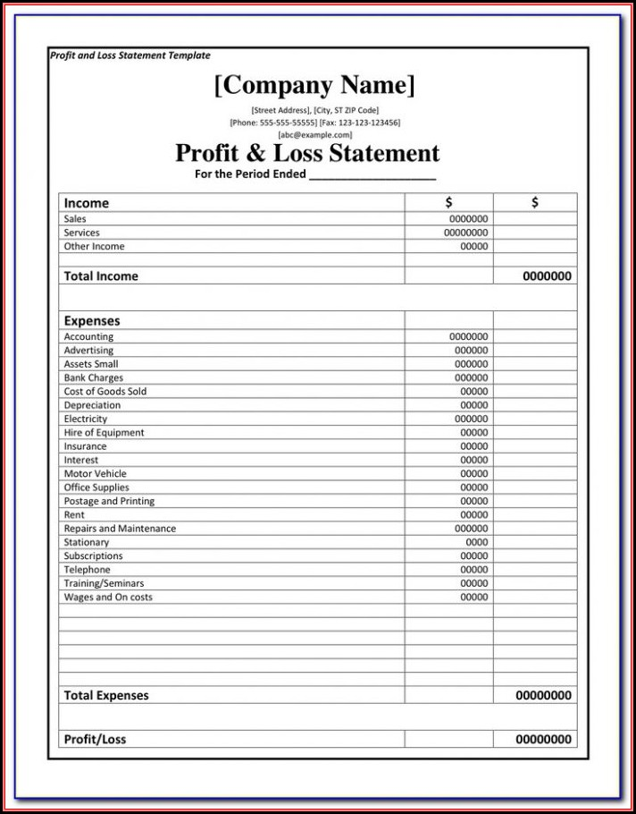 Profit Loss Statement Form Free