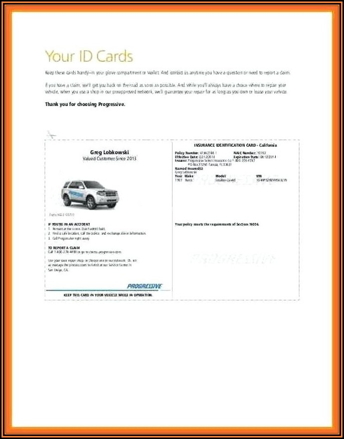 Progressive Insurance Id Card Template