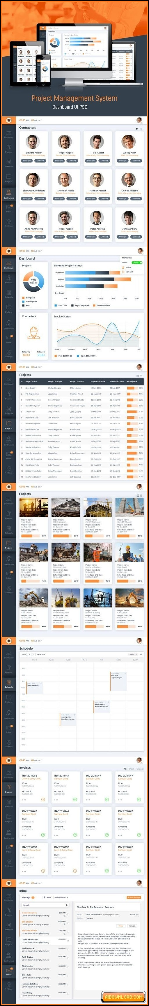 Project Management System Dashboard Gui Psd Templates