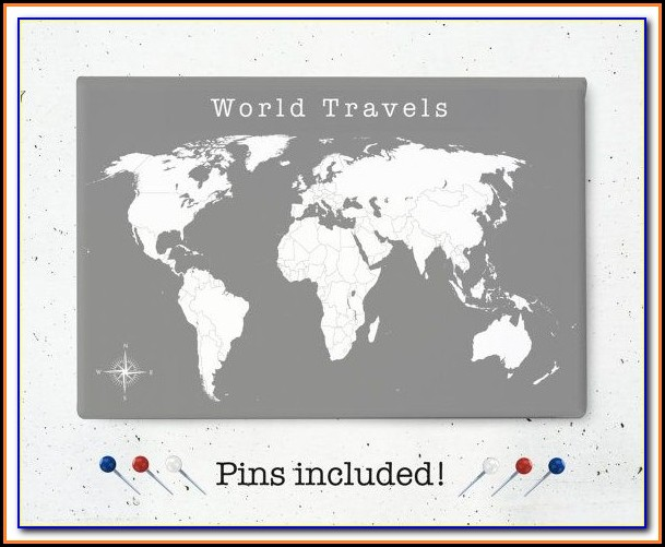 Push Pin World Map Canada
