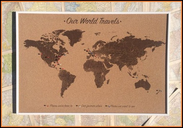 Push Pin World Map On Cork Board