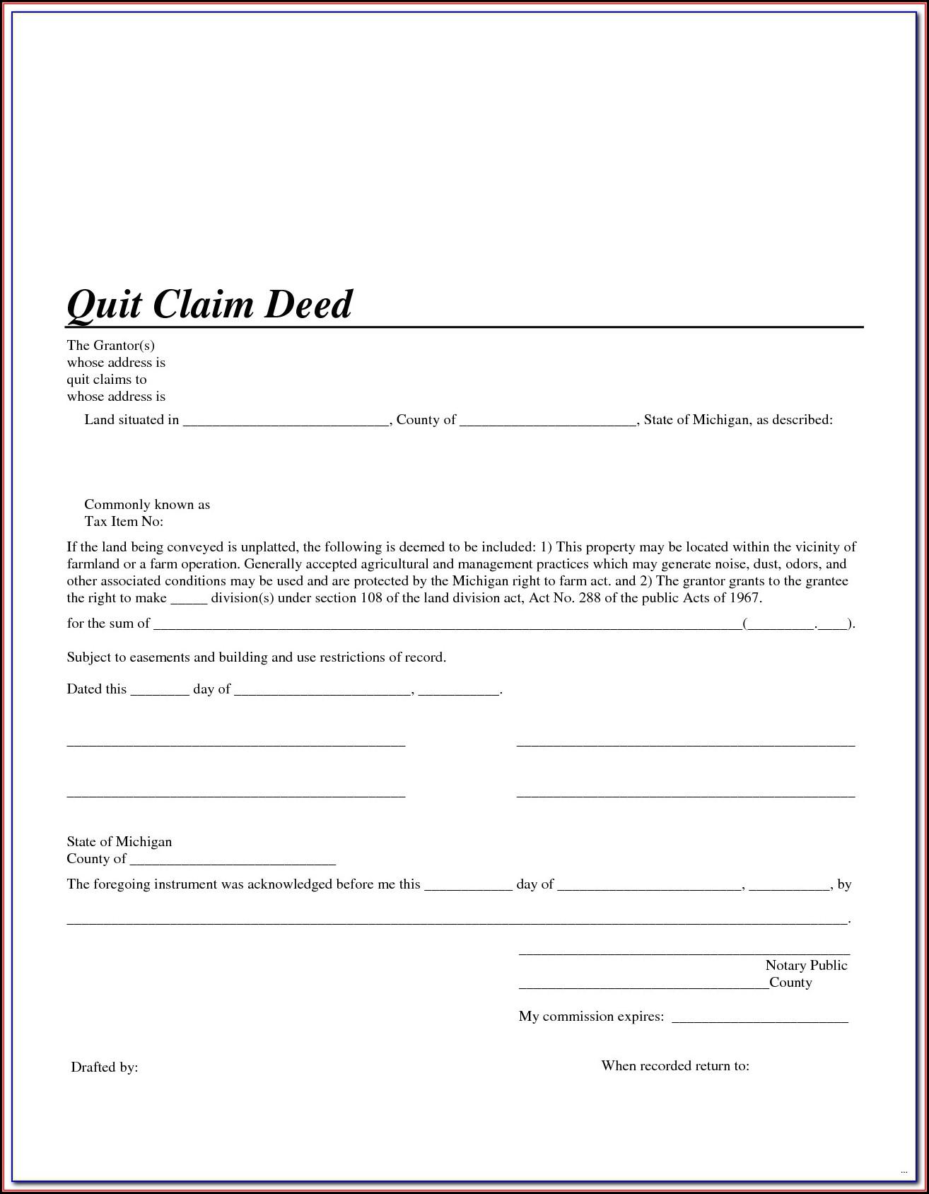 Quit Claim Deed Form Florida Seminole County