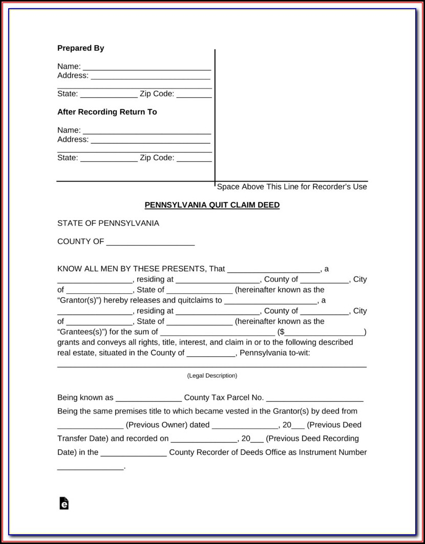 Quit Claim Deed Form Pa