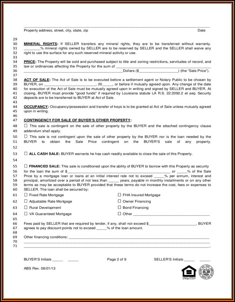 Real Estate Buy Sell Agreement Form Louisiana