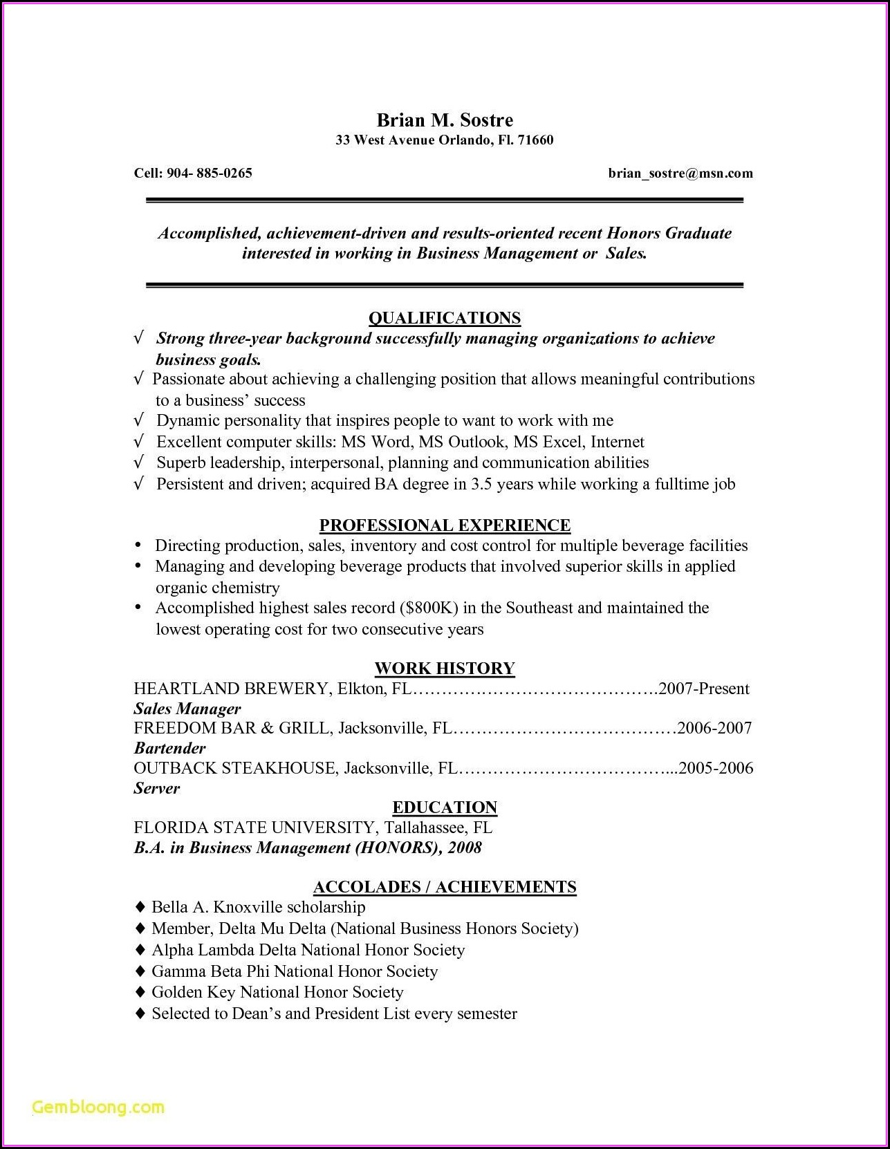 Recent College Graduate Resume Template Word