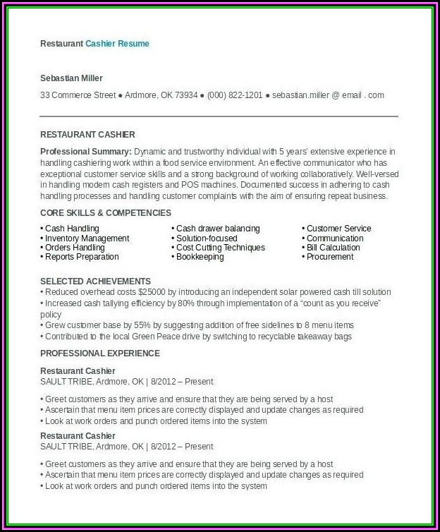 Restaurant Manager Cv Template Download