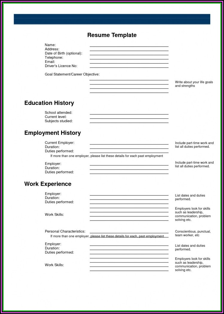 Resume Builder Fill In The Blanks