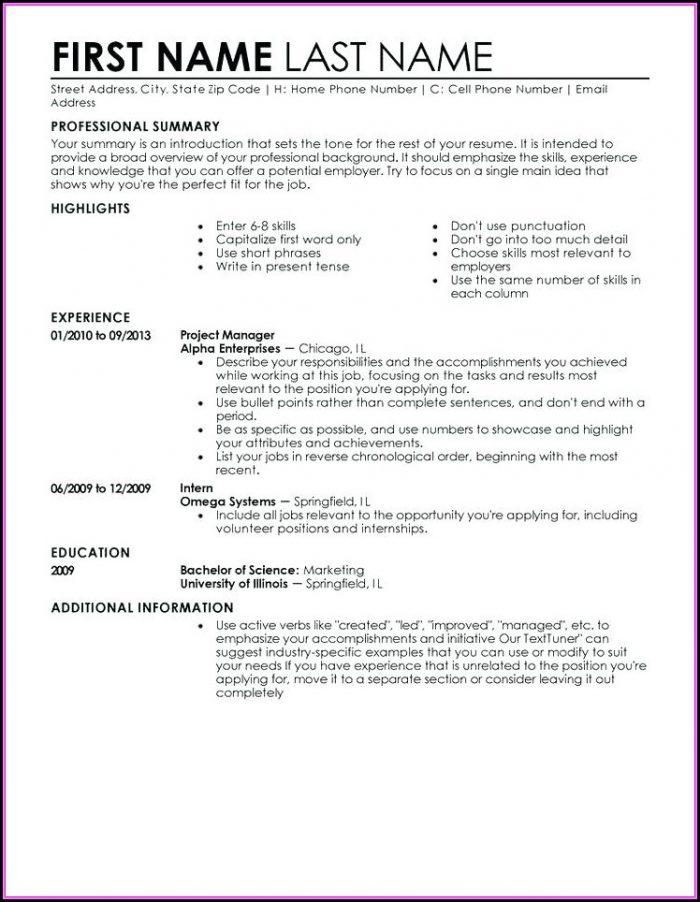 Resume Building Templates