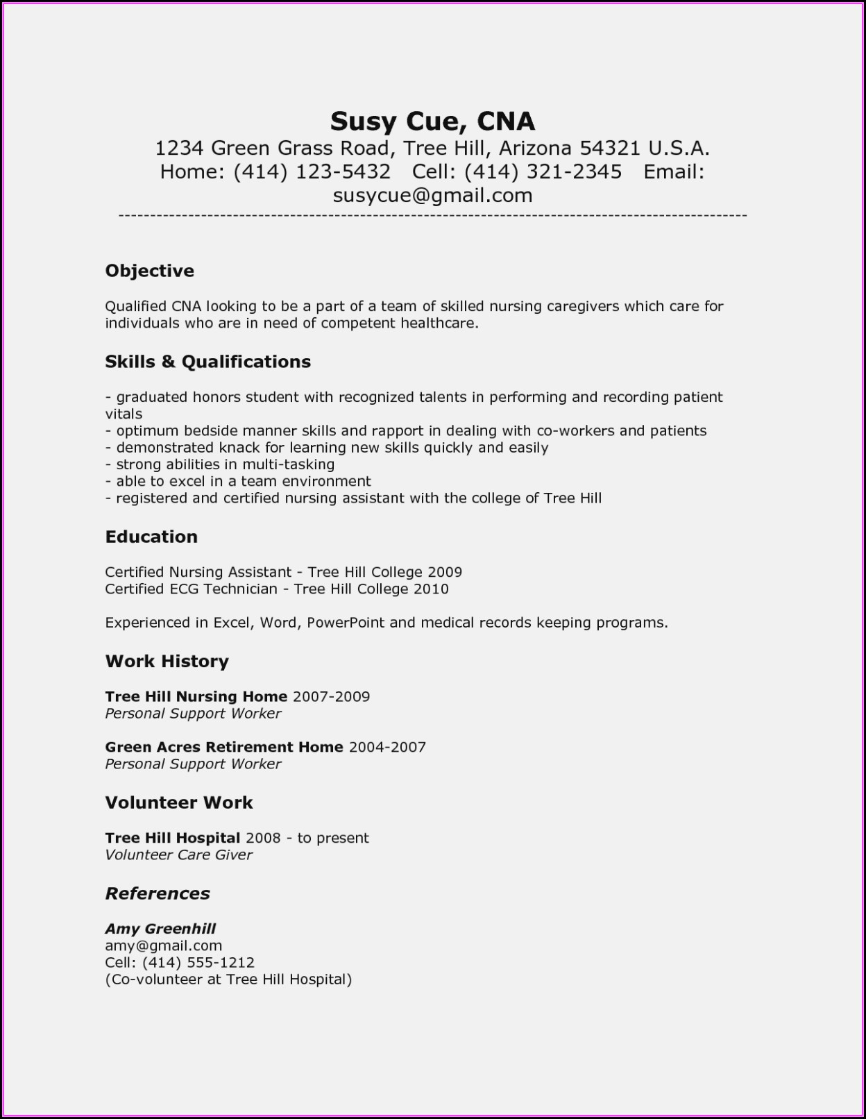 Resume Cna Job Description
