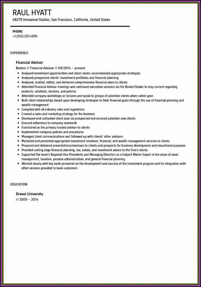 Resume For Financial Advisor Trainee