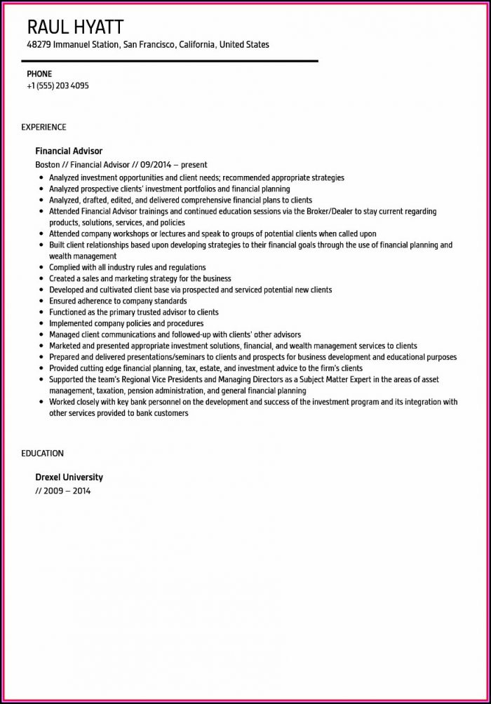 Resume For Financial Advisor With No Experience