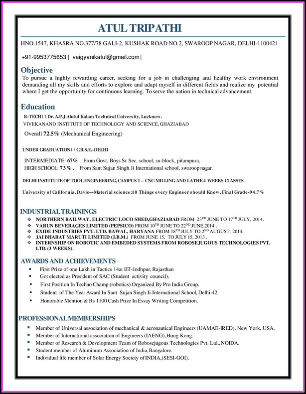 Resume For Freshers Engineers Mechanical