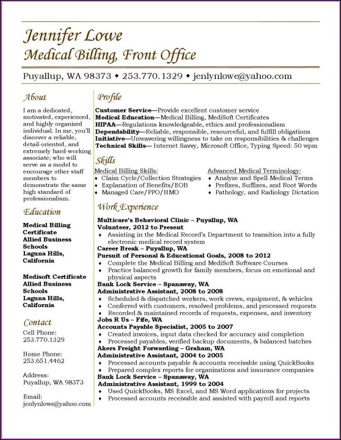 Resume For Medical Billing And Coding Specialist