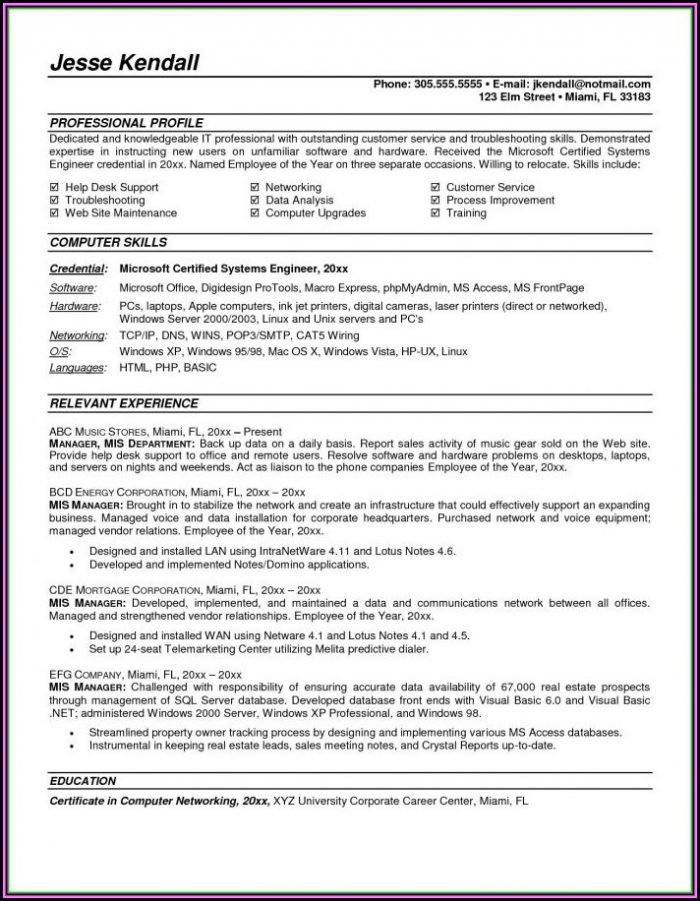Resume Format For Mis Executive Pdf